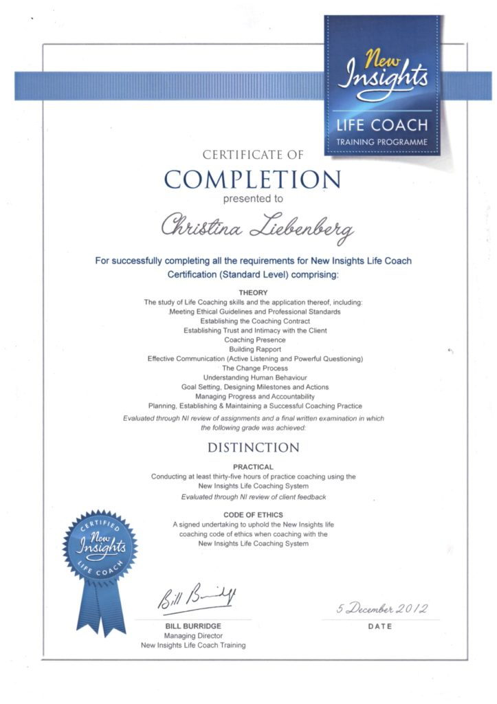 New Insights Life Coach Certificate of Completion for Christina Liebenberg